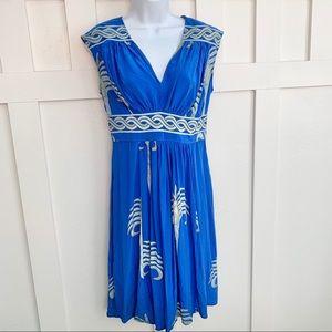 Tracy Reese Blue Silk V-Neck Midi Dress
